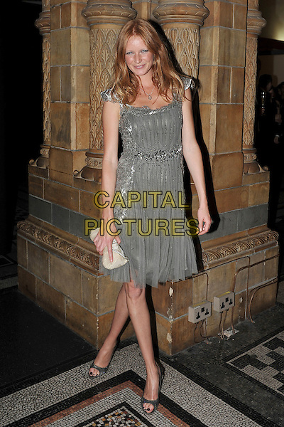 OLIVIA INGE.The Global Party - Arrivals, Natural History Museum, London, England..September 8th, 2011.full length grey gray silver dress clutch bag.CAP/MAR.© Martin Harris/Capital Pictures.