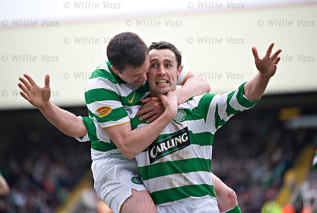 Scott McDonald celebrates his goal with Gary Caldwell