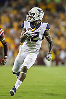 Landover, MD - September 3, 2017: West Virginia Mountaineers wide receiver Gary Jennings (12) scores a touchdown during game between Virginia Tech and WVA at  FedEx Field in Landover, MD.  (Photo by Elliott Brown/Media Images International)