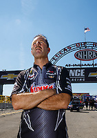 Sep 4, 2016; Clermont, IN, USA; NHRA pro stock driver Greg Anderson during qualifying for the US Nationals at Lucas Oil Raceway. Mandatory Credit: Mark J. Rebilas-USA TODAY Sports