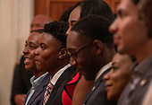 Guests listen to United States President Donald J. Trump at the Young Black Leadership Summit 2019 at the White House in Washington, D.C. on Friday October 4, 2019.     <br /> Credit: Tasos Katopodis / Pool via CNP