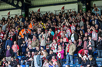 The Accrington Stanley fans during the Sky Bet League 2 match between Wycombe Wanderers and Accrington Stanley at Adams Park, High Wycombe, England on the 30th April 2016. Photo by Liam McAvoy / PRiME Media Images.