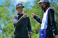 Michelle Wie (USA) fist bumps her caddie after sinking her birdie putt on 1 during round 4 of  the Volunteers of America Texas Shootout Presented by JTBC, at the Las Colinas Country Club in Irving, Texas, USA. 4/30/2017.<br /> Picture: Golffile | Ken Murray<br /> <br /> <br /> All photo usage must carry mandatory copyright credit (&copy; Golffile | Ken Murray)