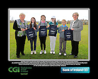 Antrim GC team with Bank of Ireland Officials Angela Callan and Heather Raney with Junior golfers from across Ulster practicing their skills at the regional finals of the Dubai Duty Free Irish Open Skills Challenge at The CAFRE Greenmount Campus in Antrim. 2/04/2016.<br /> Picture: Golffile | Fran Caffrey<br /> <br /> <br /> All photo usage must carry mandatory copyright credit (© Golffile | Fran Caffrey)