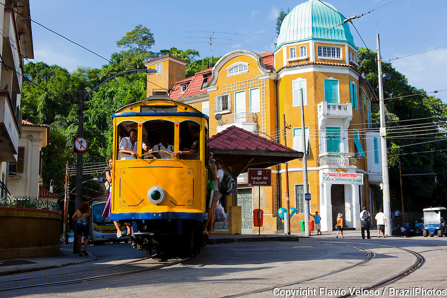 Santa Teresa tramway at Largo do Curvelo, Rio de Janeiro, Brazil. It is a historic tram line connecting the city centre with the primarily residential, inner-city neighbourhood of Santa Teresa, in the hills immediately southwest of downtown. It is currently maintained mainly as a tourist attraction, and is nowadays considered a heritage tramway system, having been designated a national historic monument in 1988.