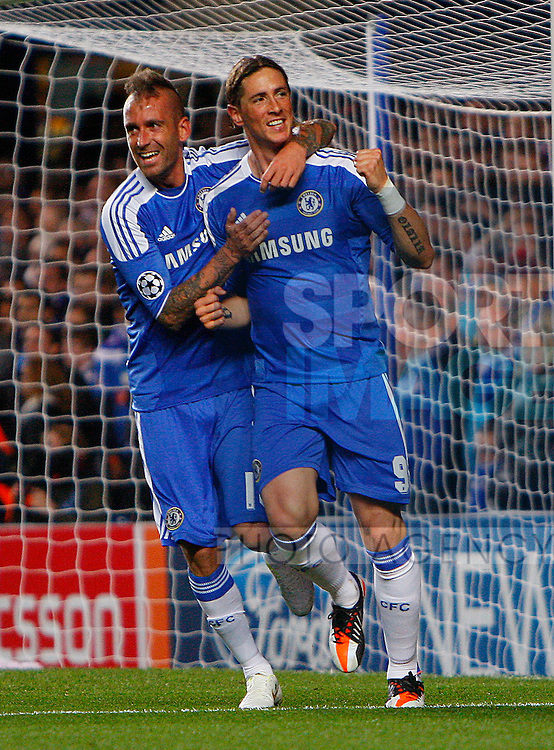 Fernando Torres of Chelsea celebrates scoring his side's second goal during the Champions League match between Chelsea and KRC Genk at Stamford Bridge, London, England, on October 19, 2011. Photo Credit SPORTIMAGE/JAKE BADGER