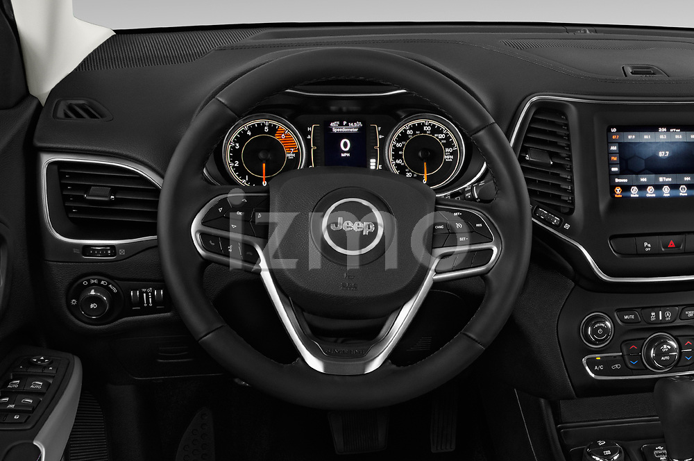 Car pictures of steering wheel view of a 2019 Jeep Cherokee Latitude Plus 4X4 5 Door SUV