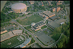 Aerial view of The Convocation Center, Peden Stadium, Bicentennial Park, Walter Hall, and Grover Hall. © Ohio University