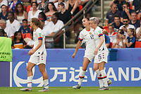 PARIS, FRANCE - JUNE 28: Alex Morgan #13, Megan Rapinoe #15 prior to a 2019 FIFA Women's World Cup France quarter-final match between France and the United States at Parc des Princes on June 28, 2019 in Paris, France.