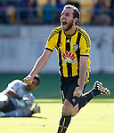 Phoenix's Jeremy Brockie celebrates after scoring against the Brisbane Roar in the A-League football match at Westpac Stadium, Wellington, New Zealand, Sunday, January 04, 2015. Credit: Dean Pemberton