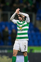 29th January 2020; McDairmid Park, Perth, Perth and Kinross, Scotland; Scottish Premiership Football, St Johnstone versus Celtic; Greg Taylor of Celtic applauds the fans at the end of the match