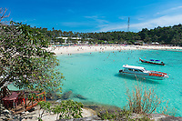 View of the Racha island from the restaurant on the rocks of Raya Bungalow Resort, Raya island, Thailand