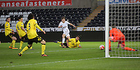 Pictured: Dan James of Swansea (C) has his shot saved by Aston Villa goalkeeper Matija Sarkic (R) Monday 25 April 2016<br /> Re: Play Off semi final, Swansea City AFC U21 v Aston Villa FC U21 at the Liberty Stadium, Swansea, UK