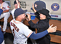 (R-L) Norichika Aoki, George Springer (Astros),<br /> JUNE 12, 2017 - MLB :<br /> Norichika Aoki of the Houston Astros celebrates with his teammates in the dugout after receiving a cowboy hat during a pregame ceremony honoring his 2000th career hit before the Major League Baseball game against the Texas Rangers at Minute Maid Park in Houston, Texas, United States. (Photo by AFLO)