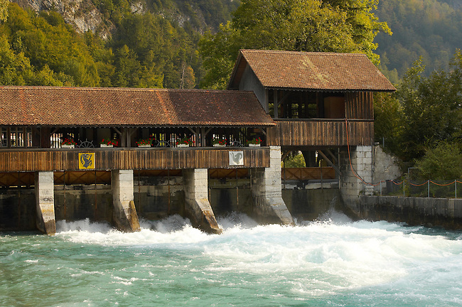 Interlaken Bernese Alps Switzerland - River and wooden wier