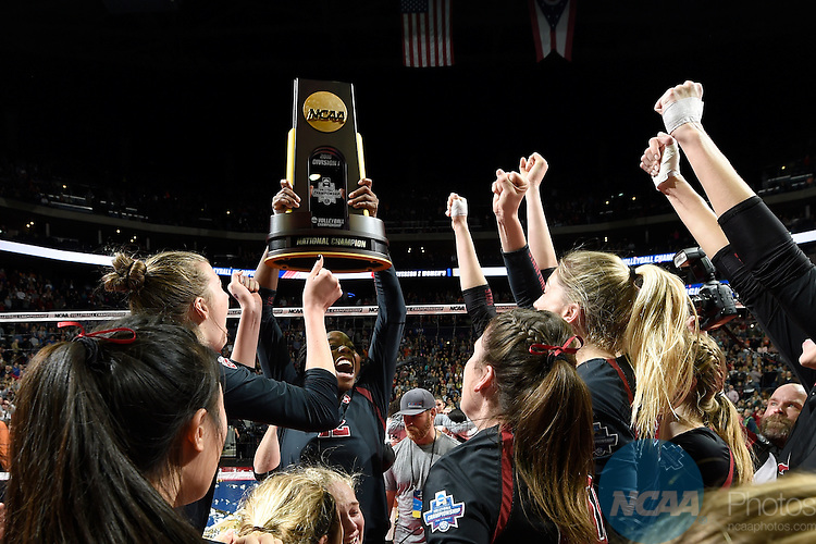 COLUMBUS, OH - DECEMBER 17:  Inky Ajanaku (12) of Stanford University celebrates their victory over the University of Texas during the Division I Women's Volleyball Championship held at Nationwide Arena on December 17, 2016 in Columbus, Ohio.  Stanford beat Texas 3-1 to win the national title. (Photo by Jamie Schwaberow/NCAA Photos via Getty Images)