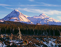 ORCAC_044 - USA, Oregon, Three Sisters Wilderness, Evening light on North (left) and Middle Sister (right) with autumn snow above conifers and lava flow, near McKenzie Pass.