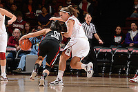 STANFORD, CA - NOVEMBER 26: Jeanette Pohlen of Stanford women's basketball on defense during a game against South Carolina on November 26, 2010 at Maples Pavilion in Stanford, California.  Stanford topped South Carolina, 70-32.