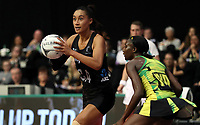 24.02.2018 Silver Ferns Maria Falau in action during the Silver Ferns v Jamaica Taini Jamison Trophy netball match at the North Shore Events Centre in Auckland. Mandatory Photo Credit ©Michael Bradley.