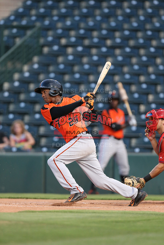 Mikey Edie (29) of the AZL Giants bats during a game against the AZL Angels at Tempe Diablo Stadium on July 6, 2015 in Tempe, Arizona. Angels defeated the Giants, 3-1. (Larry Goren/Four Seam Images)