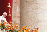 Pope Francis delivers the Easter &quot;Urbi et Orbi&quot; (&quot;To the City and to the World&quot;) message from the central balcony to St. Peter's Basilica at the Vatican, April 21, 2019.<br /> UPDATE IMAGES PRESS/Riccardo De Luca<br /> <br /> STRICTLY ONLY FOR EDITORIAL USE