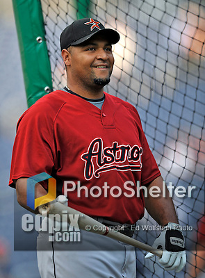 11 July 2008: Houston Astros' left fielder Carlos Lee awaits his turn for batting practice prior to a game against the Washington Nationals at Nationals Park in Washington, DC. The Nationals shut out the Astros 10-0 in the first game of their 3-game series...Mandatory Photo Credit: Ed Wolfstein Photo