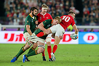 27th October 2019, Oita, Japan;  Pieter-Steph du Toit of South Africa upends Dan Biggar of Wales during the 2019 Rugby World Cup semi-final match between Wales and South Africa at International Stadium Yokohama in Kanagawa, Japan on October 27, 2019.  - Editorial Use