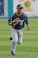 Kalei Hanawahine #13 of the University of San Diego Toreros  running in the outfield before a game against the Coastal Carolina University Chanticleers   at Watson Stadium at Vrooman Field in Conway,, SC on March 26, 2010. Photo by Robert Gurganus/Four Seam Images