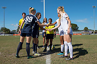 Sanford, FL - Saturday Oct. 14, 2017:  Captains shake hands after the coin toss prior to a US Soccer Girls' Development Academy match between Orlando Pride and NC Courage at Seminole Soccer Complex. The Courage defeated the Pride 3-1.