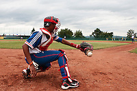 18 August 2010: Andy Paz Garriga of Team France fails to catch the ball during the France 7-3 win over Ukraine, at the 2010 European Championship, under 21, in Brno, Czech Republic.