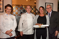 Melbourne, June 26, 2018 - Laura Skvor, Michael Cole, Jacqui Brosnan and Tom Milligan pose for a photograph at a celebration event for Bocuse d'Or Australia team and their sponsors and supporters at Philippe Restaurant in Melbourne, Australia. Photo Sydney Low.