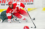 9 January 2011: Boston University Terrier defenseman Adam Clendening, a Freshman from Wheatfield, NY, in action against the University of Vermont Catamounts at Gutterson Fieldhouse in Burlington, Vermont. The Terriers defeated the Catamounts 4-2 in Hockey East play. Mandatory Credit: Ed Wolfstein Photo