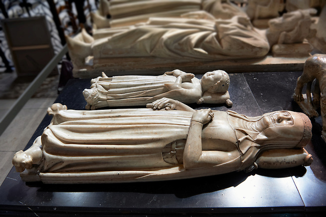 Tomb of  (front) Jeanne ( 1311 - 1349) Queen of France and Navarra daughter of Louis X , and Jean 1st (1316) called the Posthumous as he only ruled from his birth to his death 5 days later. Son of Louis X he was the shortest ruling undisputed King of France.. The Gothic Cathedral Basilica of Saint Denis ( Basilique Saint-Denis ) Paris, France.