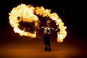 9th February 2018, Pyeongchang, South Korea; 2018 Winter Olympic Games; PyeongChang Olympic Stadium; A fire dancer during the Opening Ceremony