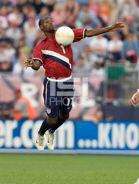 USA's DaMarcus Beasley brings down a ball against Latvia in Hartford, Ct, Sunday, May 28th, 2006.