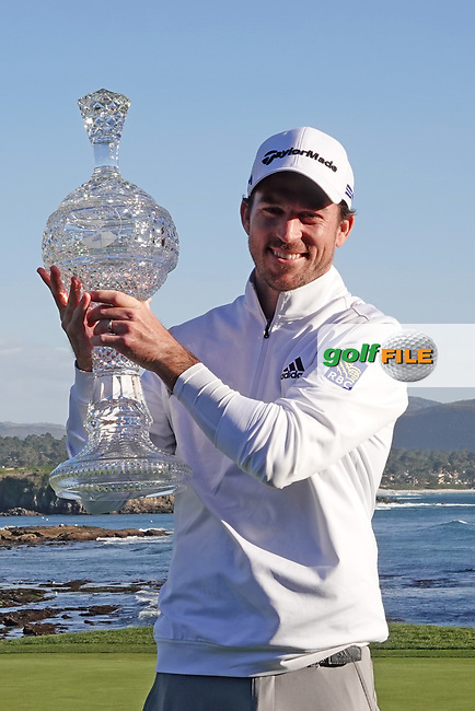 Nick Taylor (CAN) poses with the trophy after the final round of the AT&T Pro-Am, Pebble Beach, Monterey, California, USA. 08/02/2020<br /> Picture: Golffile | Phil Inglis<br /> <br /> <br /> All photo usage must carry mandatory copyright credit (© Golffile | Phil Inglis)
