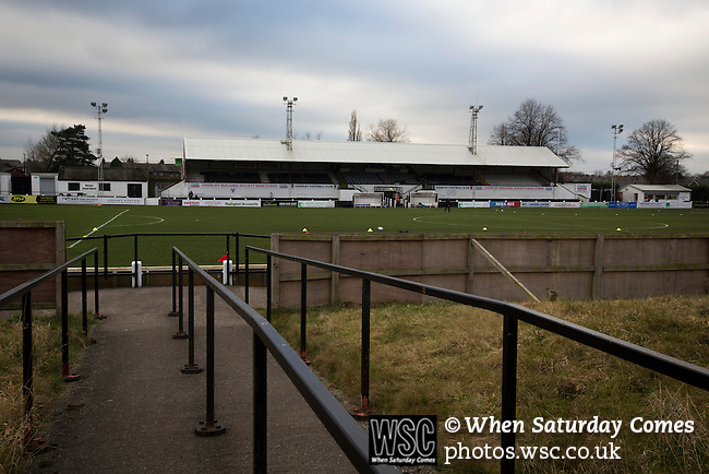 Chorley 2 Altrincham 0, 21/01/2017. Victory Park, National League North. A view across the disused bank of terracing at Victory Park, before Chorley played Altrincham in a Vanarama National League North fixture. Chorley were founded in 1883 and moved into their present ground in 1920. The match was won by the home team by 2-0, watched by an above-average attendance of 1127. Photo by Colin McPherson.