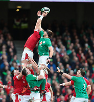 8th February 2020; Aviva Stadium, Dublin, Leinster, Ireland; International Six Nations Rugby, Ireland versus Wales; Aaron Wainwright (Wales) and Iain Henderson (Ireland) contest in the air for the lineout ball