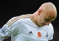 Sweat beads on the forehead of Jonjo Shelvey of Swansea City during the Barclays Premier League match between Norwich City and Swansea City played at Carrow Road, Norwich on November 7th 2015
