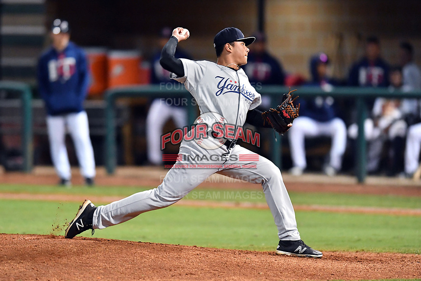 Pulaski Yankees pitcher Gilmael Troya (33) delivers a pitch during game one of the Appalachian League Championship Series against the Elizabethton Twins at Joe O'Brien Field on September 7, 2017 in Elizabethton, Tennessee. The Twins defeated the Yankees 12-1. (Tony Farlow/Four Seam Images)