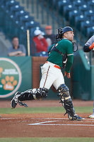 Greensboro Grasshoppers catcher Michael Hernandez (17) makes a throw to second base against the Augusta GreenJackets at First National Bank Field on April 10, 2018 in Greensboro, North Carolina.  The GreenJackets defeated the Grasshoppers 5-0.  (Brian Westerholt/Four Seam Images)