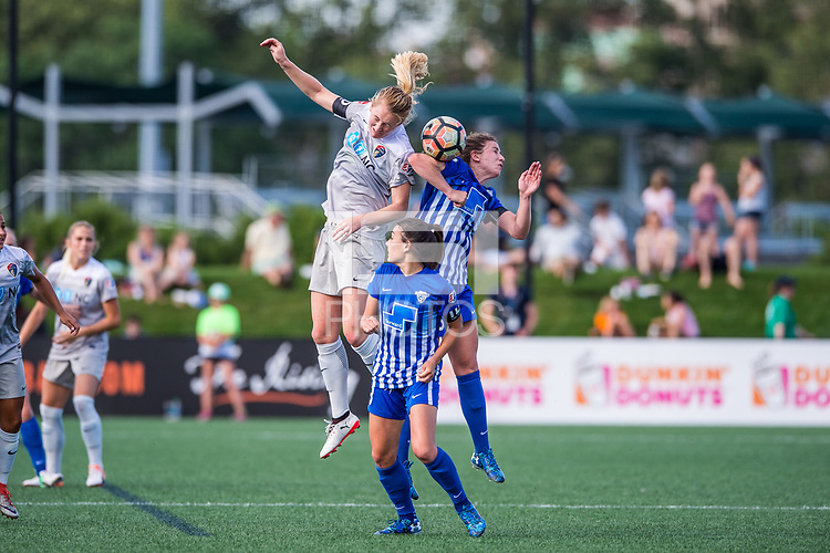 Boston, MA - Saturday June 24, 2017: Samantha Mewis and Morgan Andrews during a regular season National Women's Soccer League (NWSL) match between the Boston Breakers and the North Carolina Courage at Jordan Field.