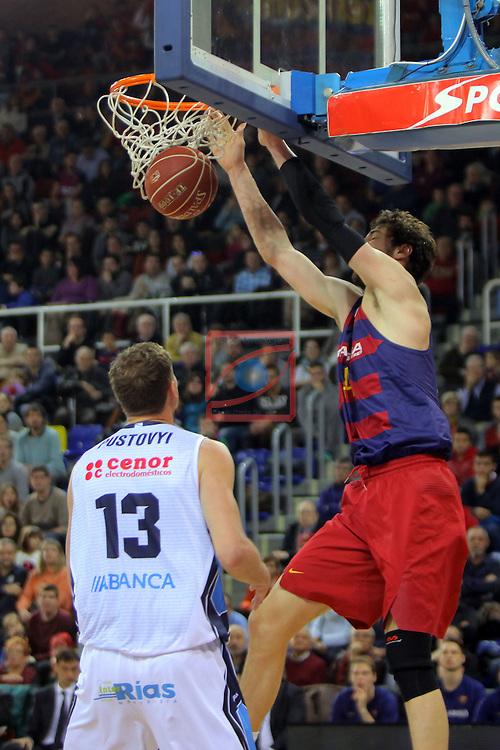League ACB-ENDESA 2016/2017 - Game: 16.<br /> FC Barcelona Lassa vs Rio Natura Monbus Obradoiro: 100-76.<br /> Artem Pustovyi vs Ante Tomic.