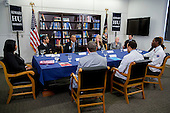 United States President Barack Obama, center left, speaks while participating in a roundtable discussion on the impacts of climate change on public health with Vivek Murthy, U.S. surgeon general, second from left, Gina McCarthy, administrator of the Environmental Protection Agency (EPA), second from right, and Charlotte Wallace, sustainability coordinator at Anne Arundel Medical Center, third from right, at Howard University in Washington, D.C., U.S., on Tuesday, April 7, 2015. The President is warning that climate change will start affecting Americans' health in the near future and he is recruiting top technology companies to help prepare the nation's health systems.<br /> Credit: Andrew Harrer / Pool via CNP