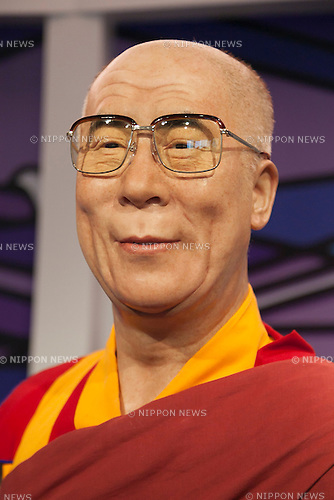 A wax figure of Dalai Lama on display at the Madame Tussauds Tokyo wax museum in Odaiba, Tokyo, June 15, 2015. The world famous British wax museum ''Madame Tussauds'' opened its 14th permanent branch in Tokyo in 2013 and exhibits international and local celebrities, sports players and politicians. New additions to the collection include wax figures of the Japanese figure skater Yuzuru Hanyu and the actor Benedict Cumberbatch. The wax figure of Benedict Cumberbatch will be exhibited until June 30th. (Photo by Rodrigo Reyes Marin/AFLO)