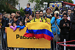 Colombian fans outside the Movistar Team bus before Stage 1, a 14km individual time trial around Dusseldorf, of the 104th edition of the Tour de France 2017, Dusseldorf, Germany. 1st July 2017.<br /> Picture: Eoin Clarke | Cyclefile<br /> <br /> <br /> All photos usage must carry mandatory copyright credit (&copy; Cyclefile | Eoin Clarke)