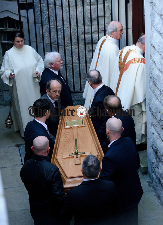 The coffin is carried from the cathedral down to a crypt, by relatives following the funeral mass of Bishop Eamonn Casey in Galway. Photograph by John Kelly.