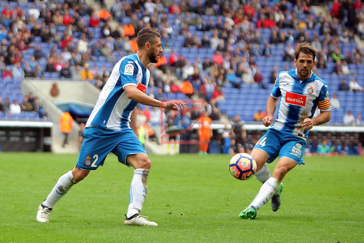 League Santander 2016/2017. Game: 9.<br /> RCD Espanyol vs SD Eibar: 3-3.<br /> Martin Demichelis &amp; Victor Sanchez.