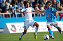 (L to R) Yoshifumi Kashiwa (Ventforet), Arata Sugiyama (Yokohama FC), .MARCH 25, 2012 - Football /Soccer : 2012 J.LEAGUE Division 2 ,5th sec match between Yokohama FC 0-2 Ventforet Kofu at NHK Spring Mitsuzawa Football Stadium, Kanagawa, Japan. (Photo by Jun Tsukida/AFLO SPORT) [0003].