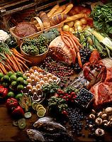 Display of fresh market food items.